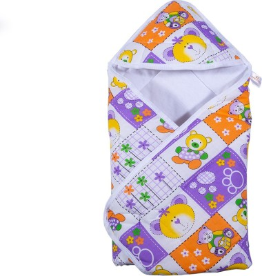 PARENTHOOD Printed Crib Hooded Baby Blanket(Poly Cotton, Purple)