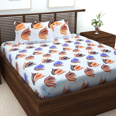 Story@Home 152 TC Cotton Double Abstract Bedsheet(Pack of 1, White)