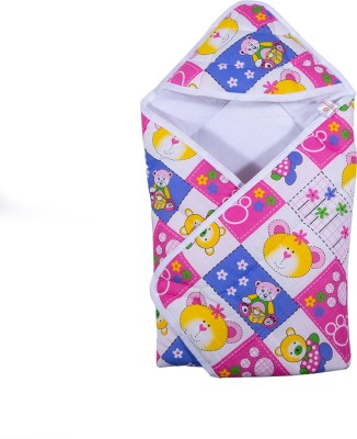 PARENTHOOD Printed Crib Hooded Baby Blanket(Poly Cotton, Pink)