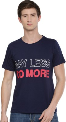 SayItLoud Printed Men Round Neck Dark Blue T Shirt