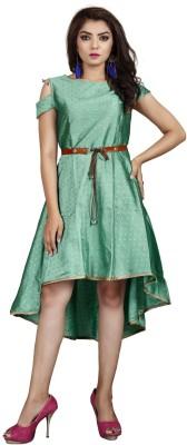 DM MART Women High Low Light Green Dress