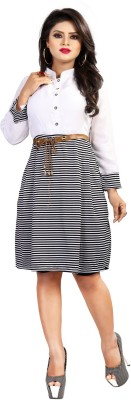 DM MART Women Fit and Flare Brown Dress