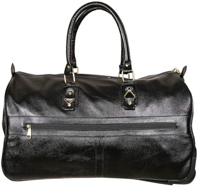 C Comfort Genuine Leather Small Travel Bag Duffel With Wheels  Strolley  Black C Comfort Duffel Bags