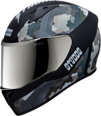 STUDDS THUNDER D5 FULL FACE WITH MIRROR VISOR Motorbike Helmet(Matt Black)