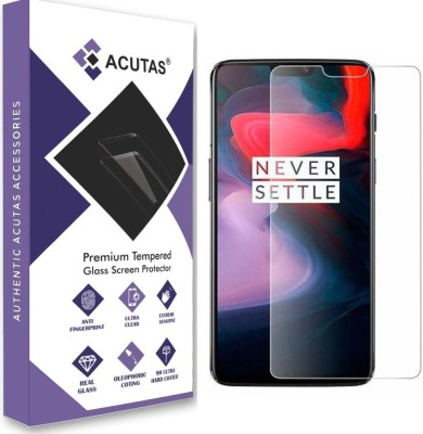 ACUTAS Tempered Glass Guard for OnePlus 6 (Transparent) Full Screen Coverage (Except Edges) with Easy Installation kit(Pack of 1)