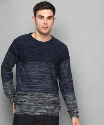 Metronaut Self Design Round Neck Casual Men Blue, Grey Sweater