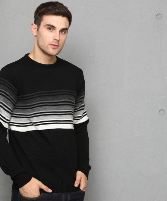 Metronaut Self Design Round Neck Casual Men White, Black, Grey Sweater