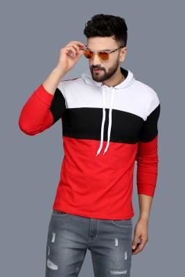 SCATCHITE Color Block Men Hooded Neck Red T-Shirt