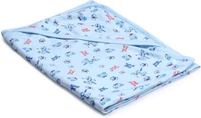 Instabuyz Printed Single Hooded Baby Blanket(Cotton, Blue)