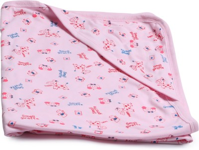 Instabuyz Printed Single Hooded Baby Blanket(Cotton, Pink)