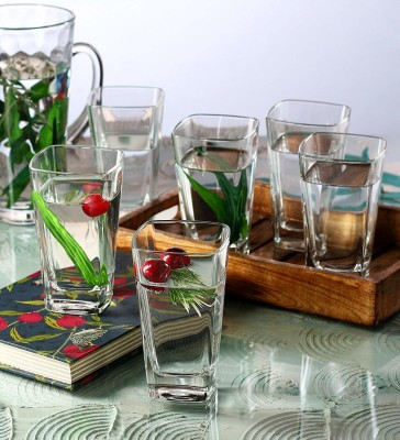 Air Crystal Clear Transparent Water & Juice Glasses Glass Set(Glass, 265 ml, Clear, Pack of 6)