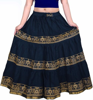 VIKALPS Printed Women A-line Dark Blue Skirt