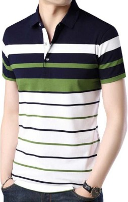 Try This Striped Men Polo Neck Multicolor T-Shirt