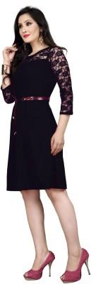 DM MART Women Fit and Flare Black Dress