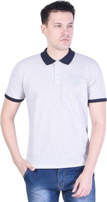 Dress.com Solid Men Polo Neck Grey T-Shirt