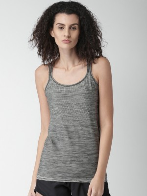 Nike Casual Sleeveless Self Design Women Grey Top