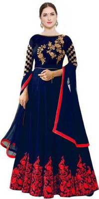 Gofan Satin Embroidered, Solid Gown/Anarkali Kurta & Bottom Material(Semi Stitched)