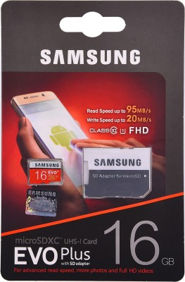 Samsung EVO Plus with SD adapter 16 GB MicroSDHC Class 10 95 MB/s Memory Card(With Adapter)
