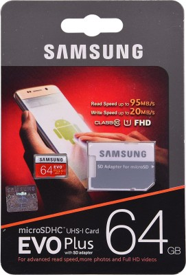 Samsung EVO Plus with SD adapter 64 GB MicroSDHC Class 10 95 MB/s  Memory Card(With Adapter)
