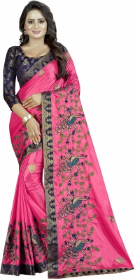 Shreeji Designer Embroidered Fashion Art Silk Saree(Pink)