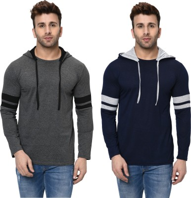 Jangoboy Printed Men Hooded Neck Grey, Dark Blue T-Shirt(Pack of 2)
