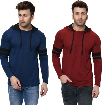 AUSTIN WOOD Color Block Men Polo Neck Maroon, Dark Blue, Grey T-Shirt