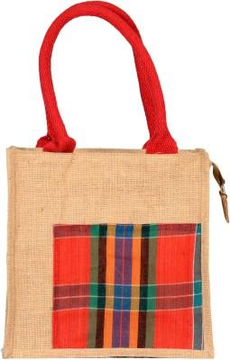 ecobirdz Jute n Cotton Combo Lunch Bag Red, 4 L ecobirdz Bags, Wallets   Belts