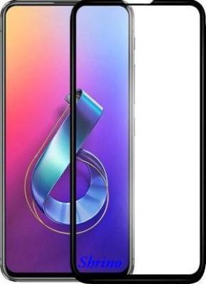 SHRINO Edge To Edge Tempered Glass for Shrino 9H+ High Definition Edge to Edge Tempered Glass for Asus 6Z, Zenfone 6 (Pack of 1, Black, Full Glue)(Pack of 1)