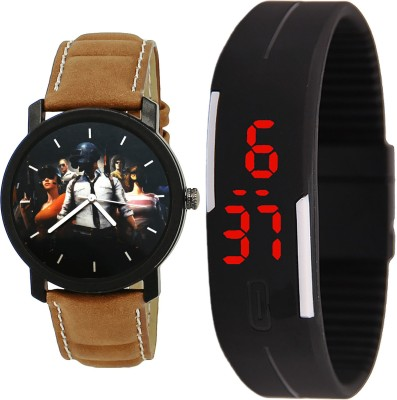 NIKOLA Latest Valentine PUBG Military Army And Led Magnet Analog And Digital Brown And Black Color Boys And Men Watch - B177-B129 (Combo Of 2 ) combo watch Analog Watch  - For Men & Women