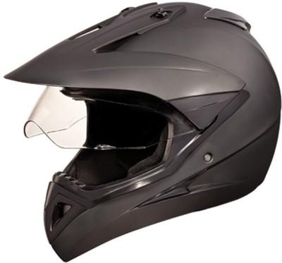 STUDDS MOTOCROSS PLAIN WITH VISOR OFF ROAD FULL FACE Motorbike Helmet(Matt Black)