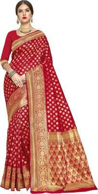 Sariya Woven Banarasi Silk Blend, Jacquard Saree(Red)