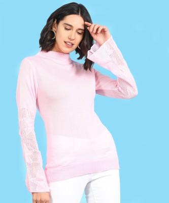 Ann Springs Self Design High Neck Casual Women Pink Sweater