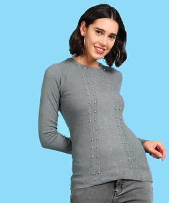 People Self Design Round Neck Casual Women Grey Sweater