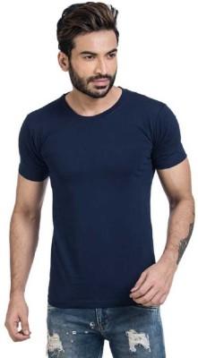 KEX Solid Men Round Neck Blue T-Shirt