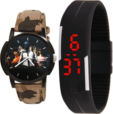 NEUTRON Brand New Heart PUBG Military Army And Led Magnet Analog And Digital Brown And Black Color Boys And Men Watch - B173-B129 (Combo Of 2 ) combo watch Analog Watch  - For Men & Women