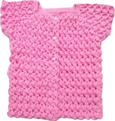 polac Baby Girls Button Woven Cardigan