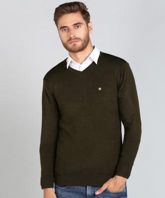 Numero Uno Solid V Neck Casual Men Green Sweater