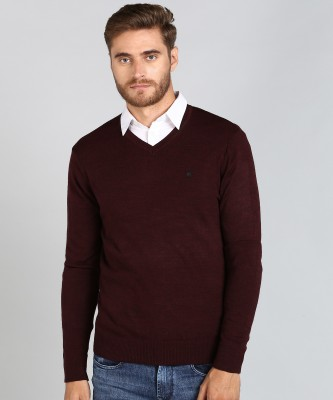 Numero Uno Solid V Neck Casual Men Maroon Sweater