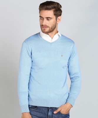 Numero Uno Solid V Neck Casual Men Light Blue Sweater