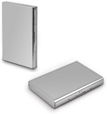SIHMAR 2 Steel Plain Executive Pocket ATM 6 Card Holder (Set of 1, Silver) 8 Card Holder(Set of 2, Silver)