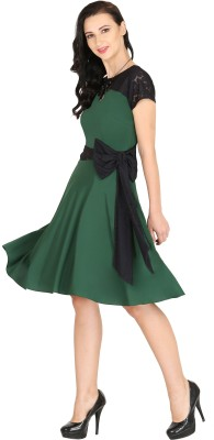 Raas Pret Women Skater Green, Black Dress