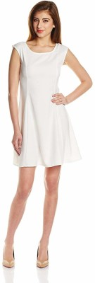 The Vanca Women Fit and Flare White Dress