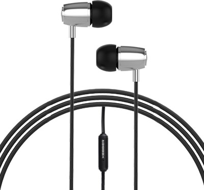 XEBBER PowerRock DT-215 in Ear Headphone Phone with Mic & Remote Wired Headset(Black & Silver, In the Ear)