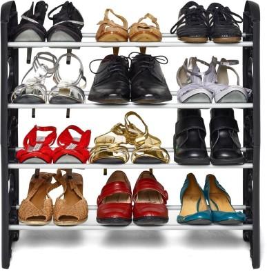 Jaagriti Articles Plastic Shoe Stand(Black, 4 Shelves)