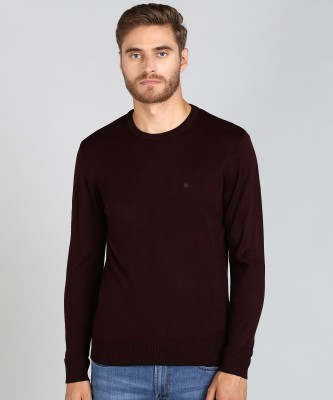 Numero Uno Solid Round Neck Casual Men Maroon Sweater