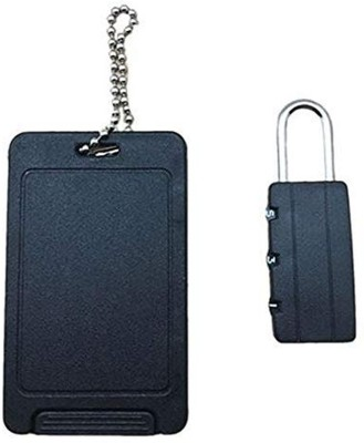 ZIGLY Combination Lock and ID Luggage Tag Set Luggage Tag, Safety Lock(Black)