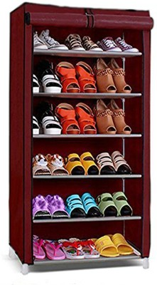 Ebee Metal Collapsible Shoe Stand(Maroon, 6 Shelves)