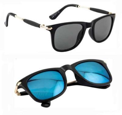 Riffko Wayfarer Sunglasses(Blue, Grey)