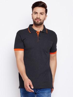The Dry State Solid Men Polo Neck Dark Blue, Orange T-Shirt