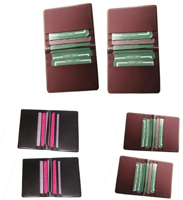 D MALL 6 Card Holder(Set of 6, Black, Brown)